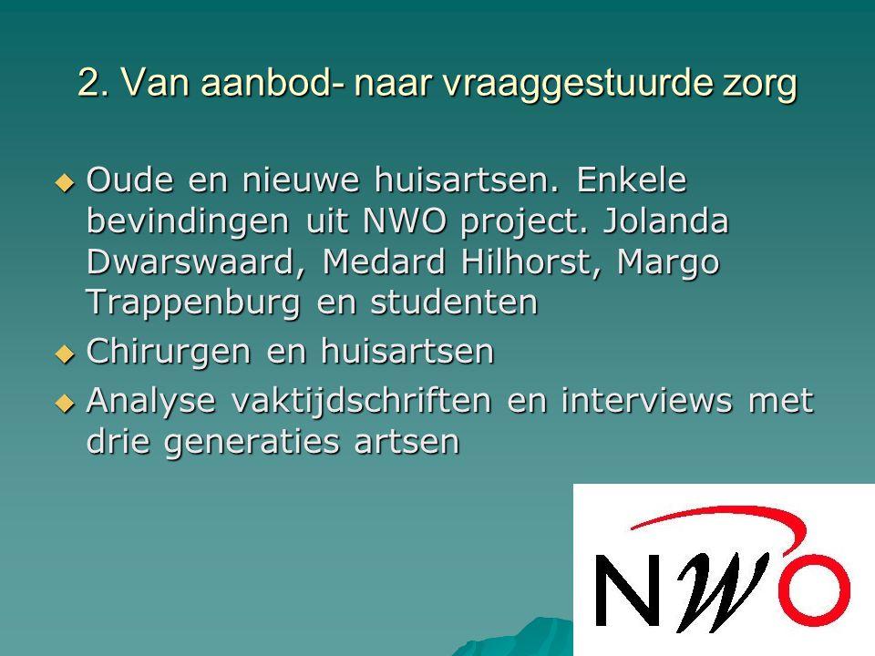 2. Van aanbod- naar vraaggestuurde zorg  Oude en nieuwe huisartsen.