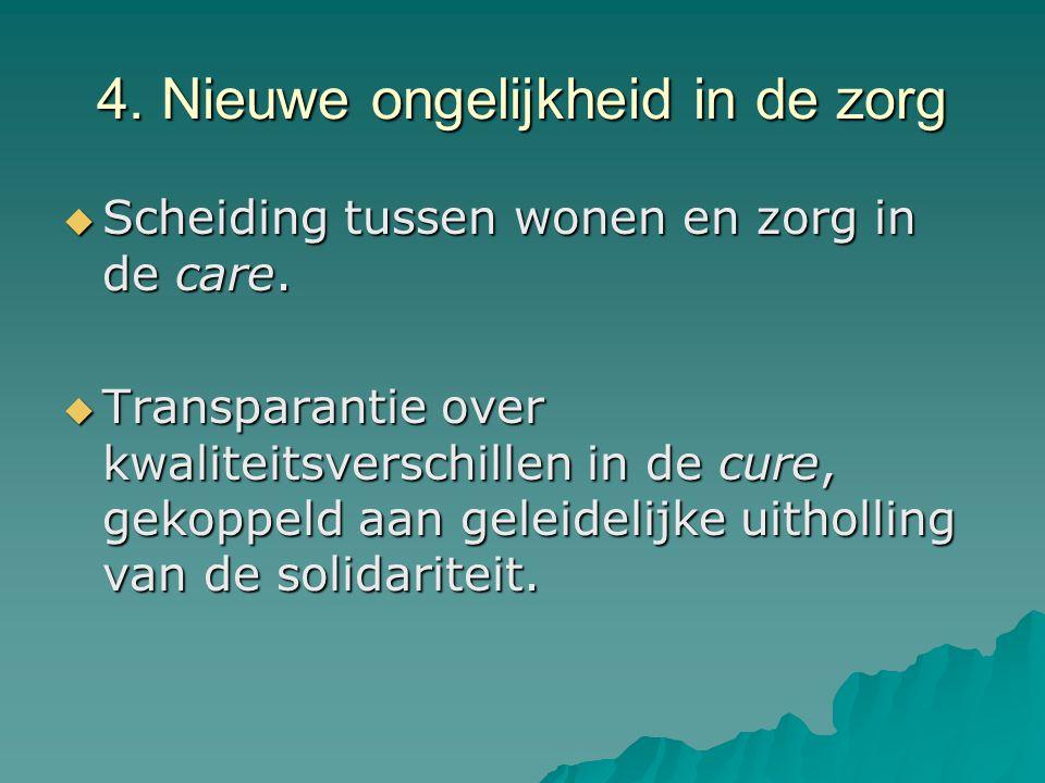 4. Nieuwe ongelijkheid in de zorg  Scheiding tussen wonen en zorg in de care.