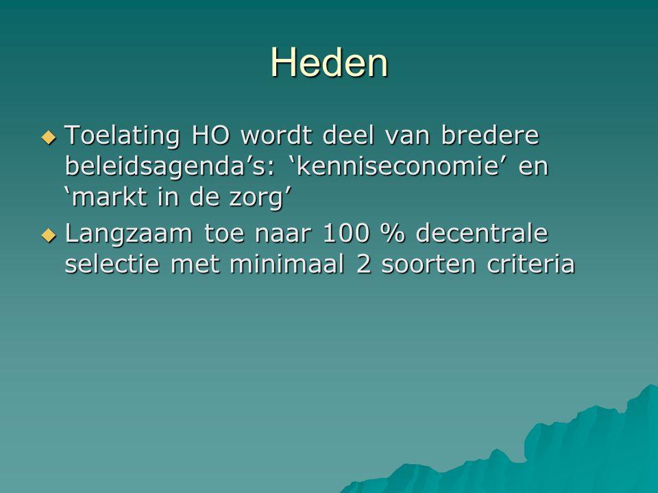 Heden  Toelating HO wordt deel van bredere beleidsagenda's: 'kenniseconomie' en 'markt in de zorg'  Langzaam toe naar 100 % decentrale selectie met minimaal 2 soorten criteria