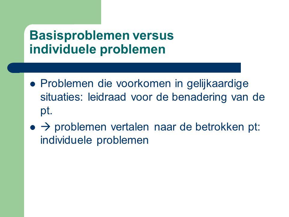Basisproblemen versus individuele problemen Problemen die voorkomen in gelijkaardige situaties: leidraad voor de benadering van de pt.  problemen ver