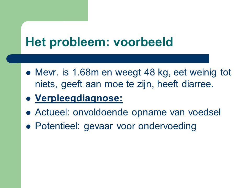 Het probleem: voorbeeld Mevr. is 1.68m en weegt 48 kg, eet weinig tot niets, geeft aan moe te zijn, heeft diarree. Verpleegdiagnose: Actueel: onvoldoe