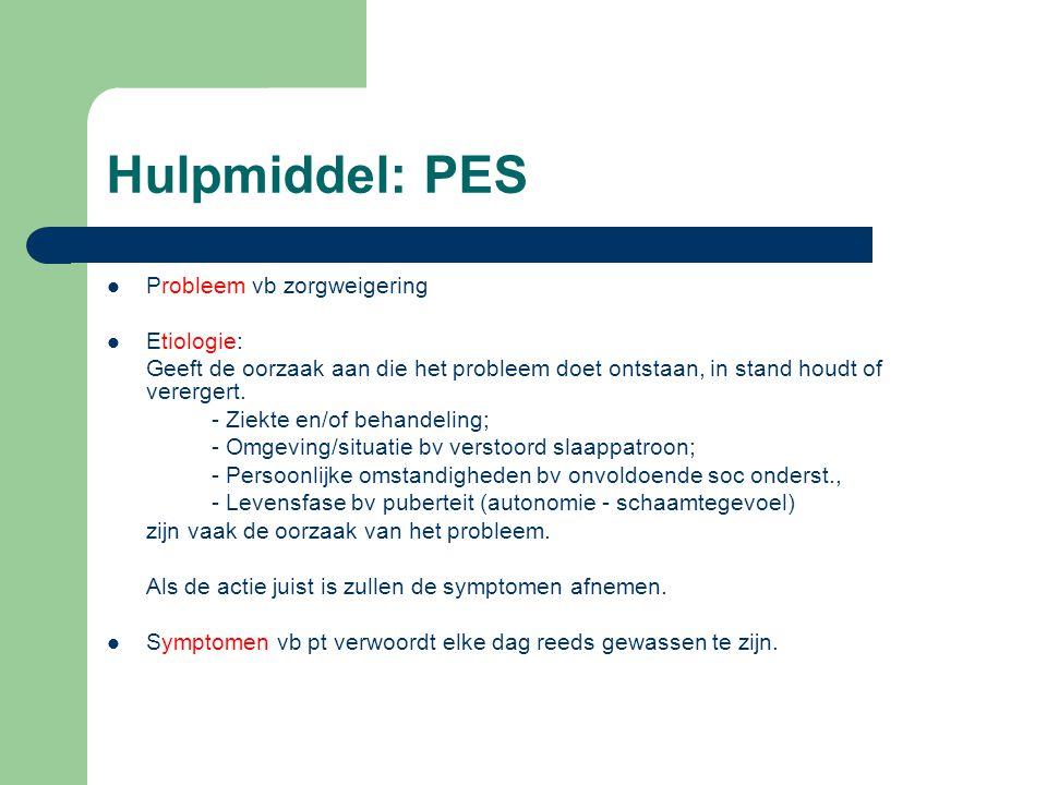 Hulpmiddel: PES Probleem vb zorgweigering Etiologie: Geeft de oorzaak aan die het probleem doet ontstaan, in stand houdt of verergert. - Ziekte en/of