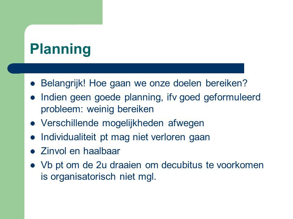 Planning Belangrijk! Hoe gaan we onze doelen bereiken? Indien geen goede planning, ifv goed geformuleerd probleem: weinig bereiken Verschillende mogel