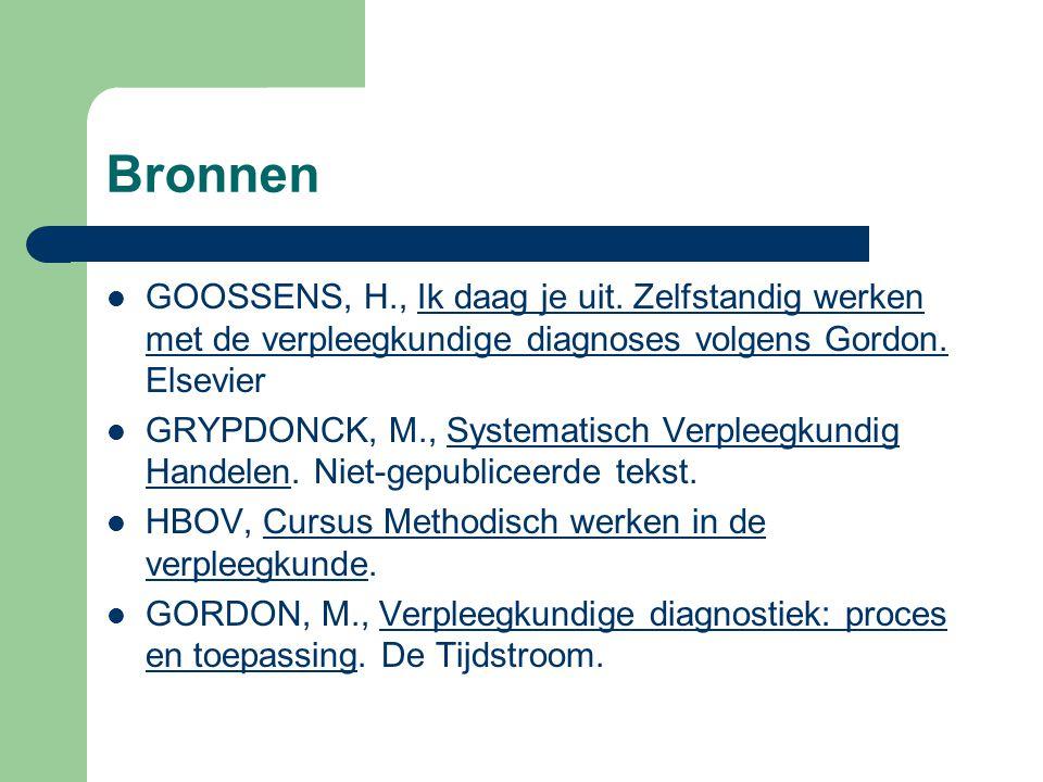 Bronnen GOOSSENS, H., Ik daag je uit. Zelfstandig werken met de verpleegkundige diagnoses volgens Gordon. Elsevier GRYPDONCK, M., Systematisch Verplee