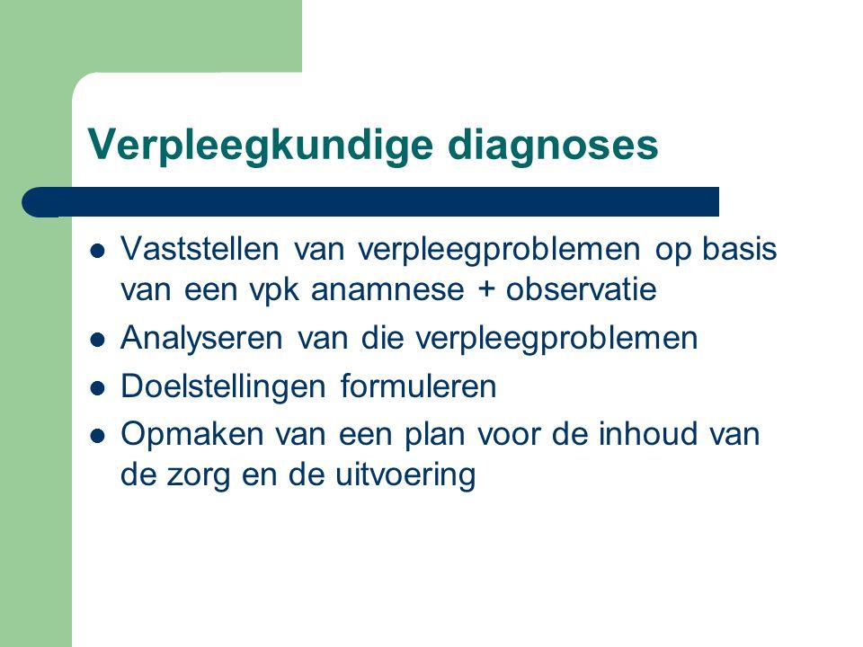 Verpleegkundige diagnoses Vaststellen van verpleegproblemen op basis van een vpk anamnese + observatie Analyseren van die verpleegproblemen Doelstelli