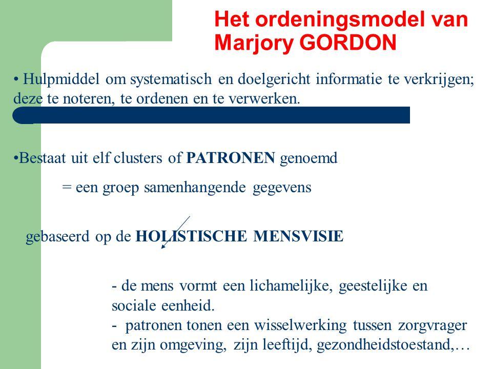 Het ordeningsmodel van Marjory GORDON Hulpmiddel om systematisch en doelgericht informatie te verkrijgen; deze te noteren, te ordenen en te verwerken.