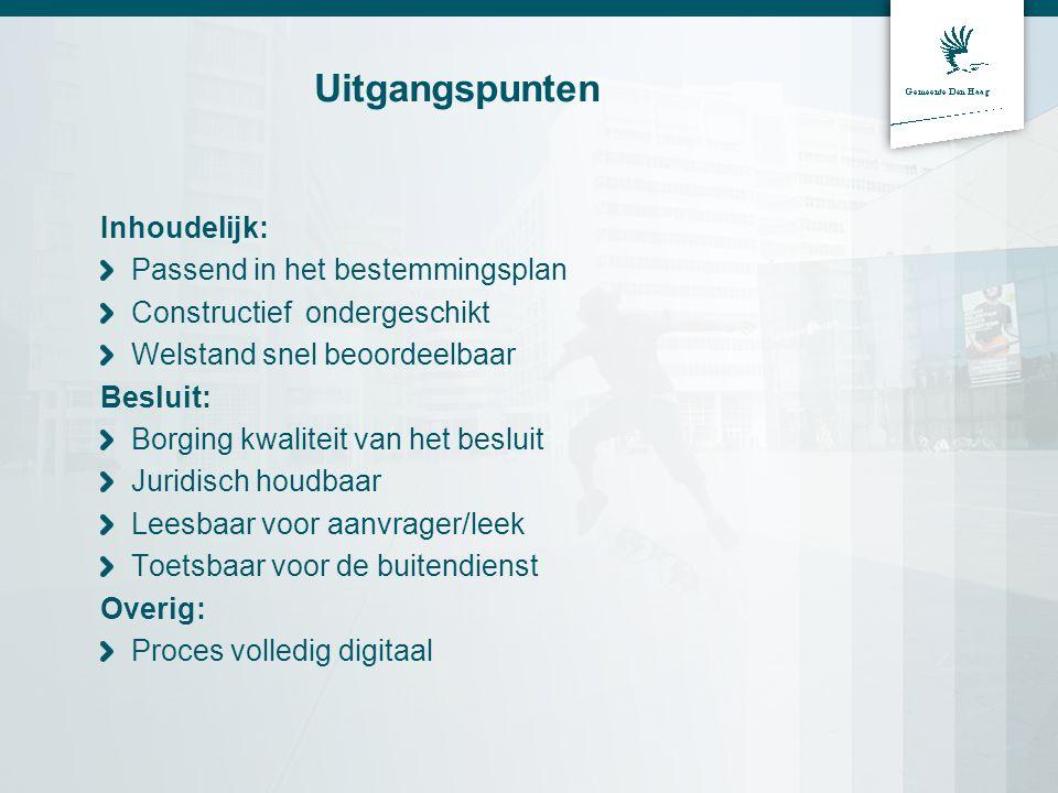 Uitgangspunten Inhoudelijk: Passend in het bestemmingsplan Constructief ondergeschikt Welstand snel beoordeelbaar Besluit: Borging kwaliteit van het b
