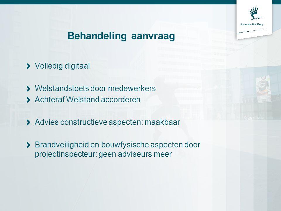 Behandeling aanvraag Volledig digitaal Welstandstoets door medewerkers Achteraf Welstand accorderen Advies constructieve aspecten: maakbaar Brandveili