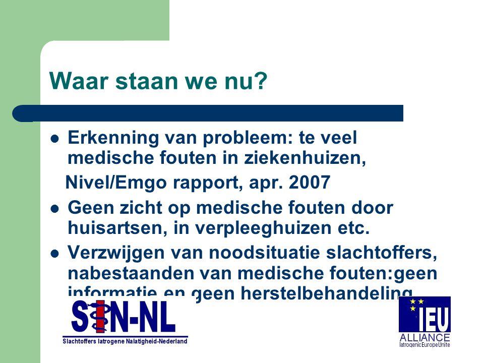 Waar staan we nu? Erkenning van probleem: te veel medische fouten in ziekenhuizen, Nivel/Emgo rapport, apr. 2007 Geen zicht op medische fouten door hu