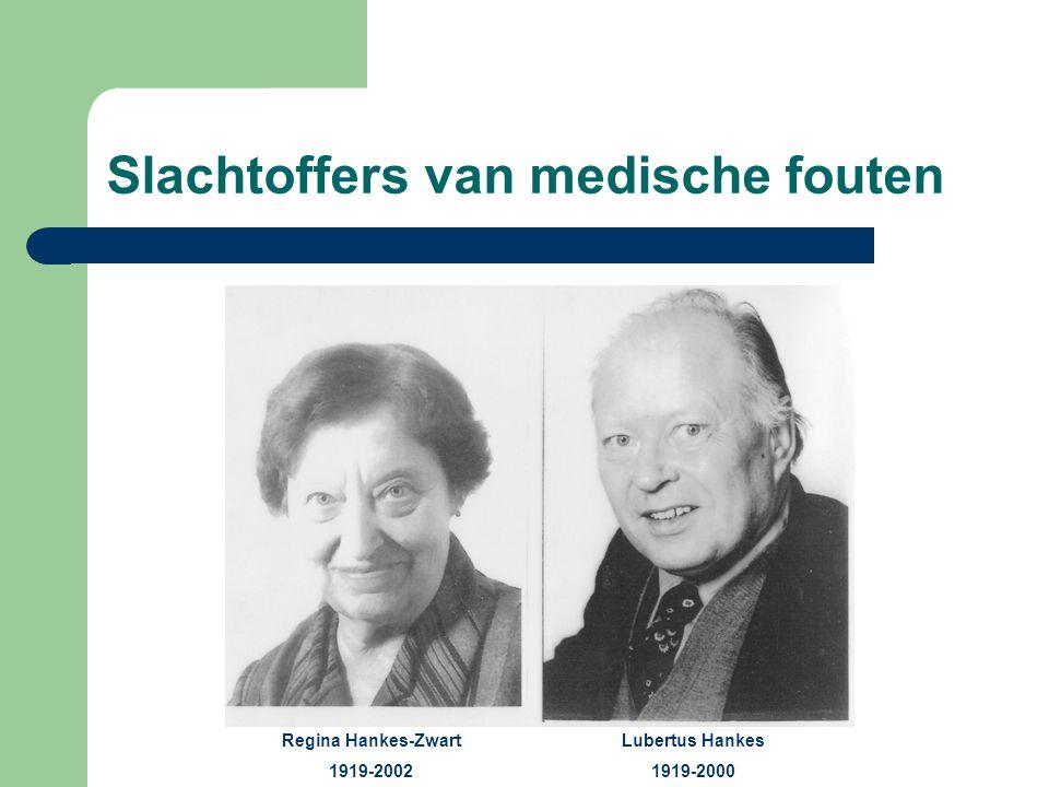 Slachtoffers van medische fouten Regina Hankes-Zwart 1919-2002 Lubertus Hankes 1919-2000