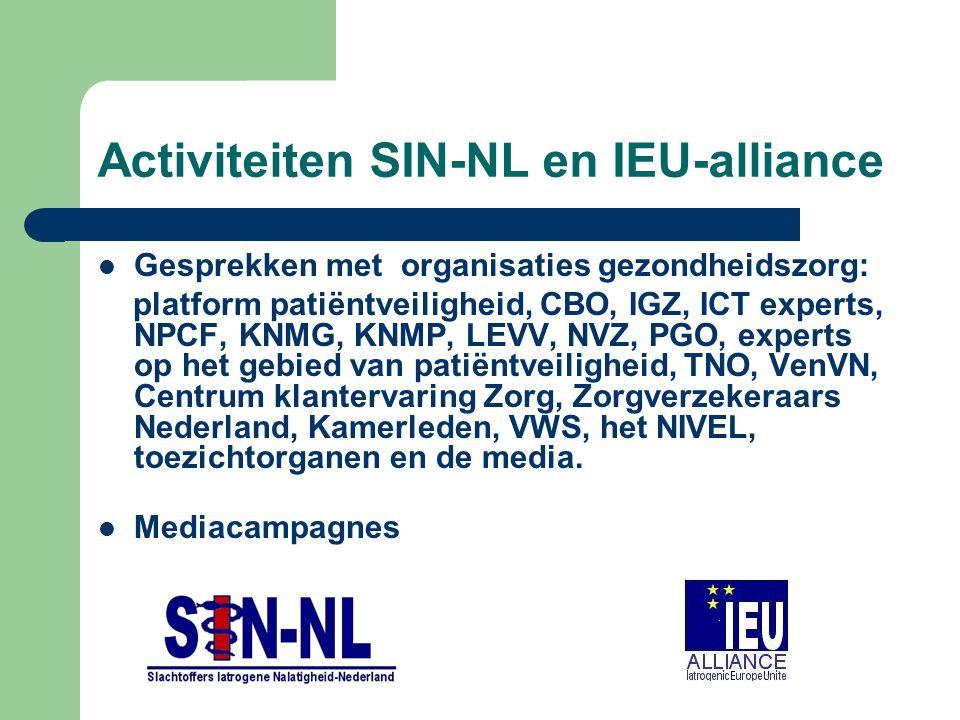 Activiteiten SIN-NL en IEU-alliance Gesprekken met organisaties gezondheidszorg: platform patiëntveiligheid, CBO, IGZ, ICT experts, NPCF, KNMG, KNMP, LEVV, NVZ, PGO, experts op het gebied van patiëntveiligheid, TNO, VenVN, Centrum klantervaring Zorg, Zorgverzekeraars Nederland, Kamerleden, VWS, het NIVEL, toezichtorganen en de media.