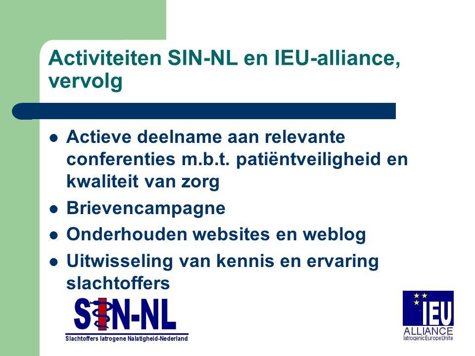 Activiteiten SIN-NL en IEU-alliance, vervolg Actieve deelname aan relevante conferenties m.b.t. patiëntveiligheid en kwaliteit van zorg Brievencampagn