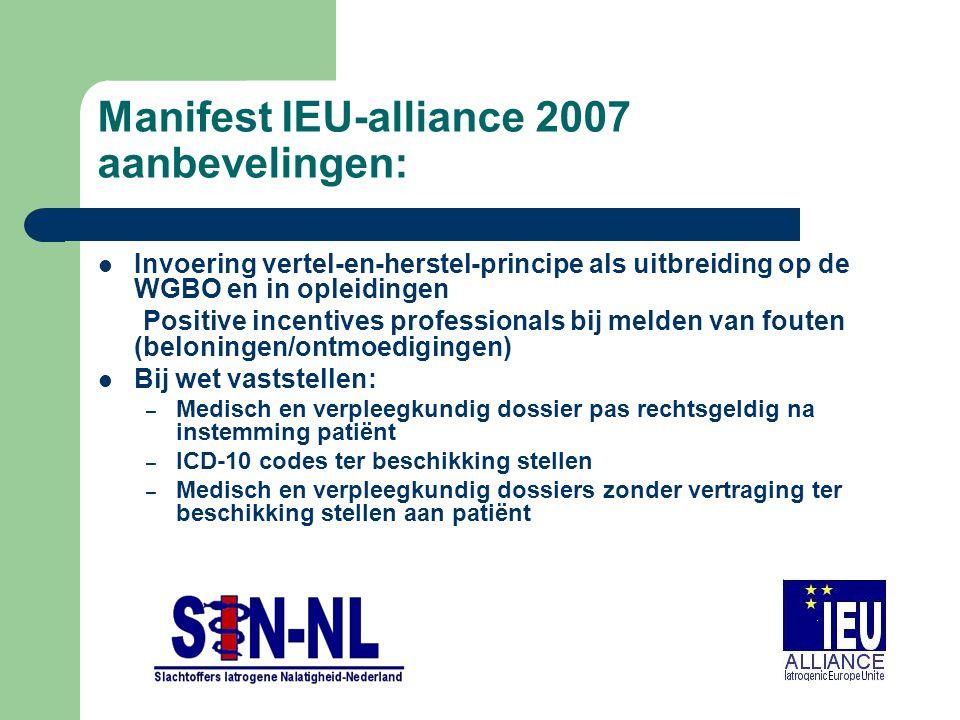 Manifest IEU-alliance 2007 aanbevelingen: Invoering vertel-en-herstel-principe als uitbreiding op de WGBO en in opleidingen Positive incentives profes