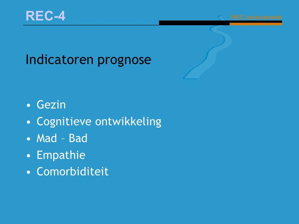 REC-4 Indicatoren prognose Gezin Cognitieve ontwikkeling Mad – Bad Empathie Comorbiditeit