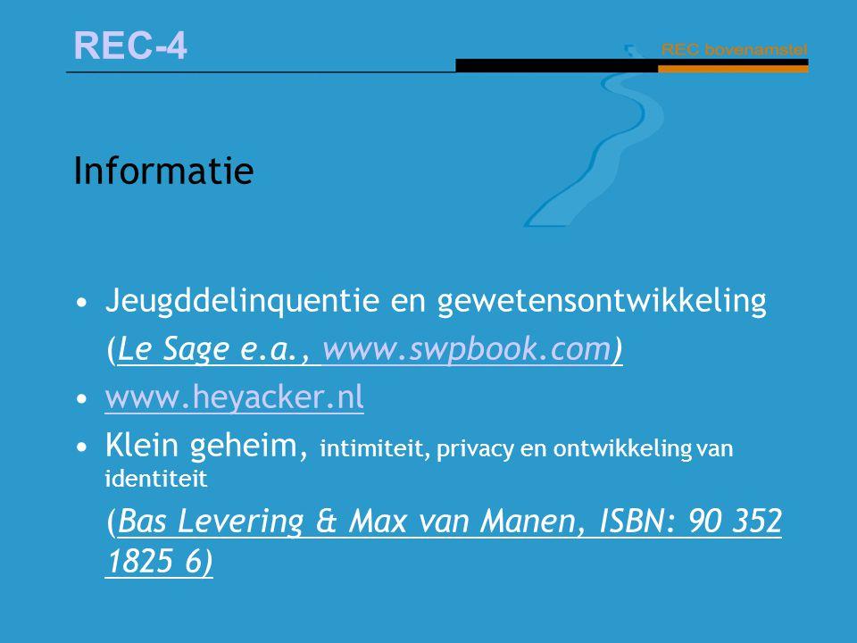REC-4 Informatie Jeugddelinquentie en gewetensontwikkeling (Le Sage e.a., www.swpbook.com)www.swpbook.com www.heyacker.nl Klein geheim, intimiteit, pr