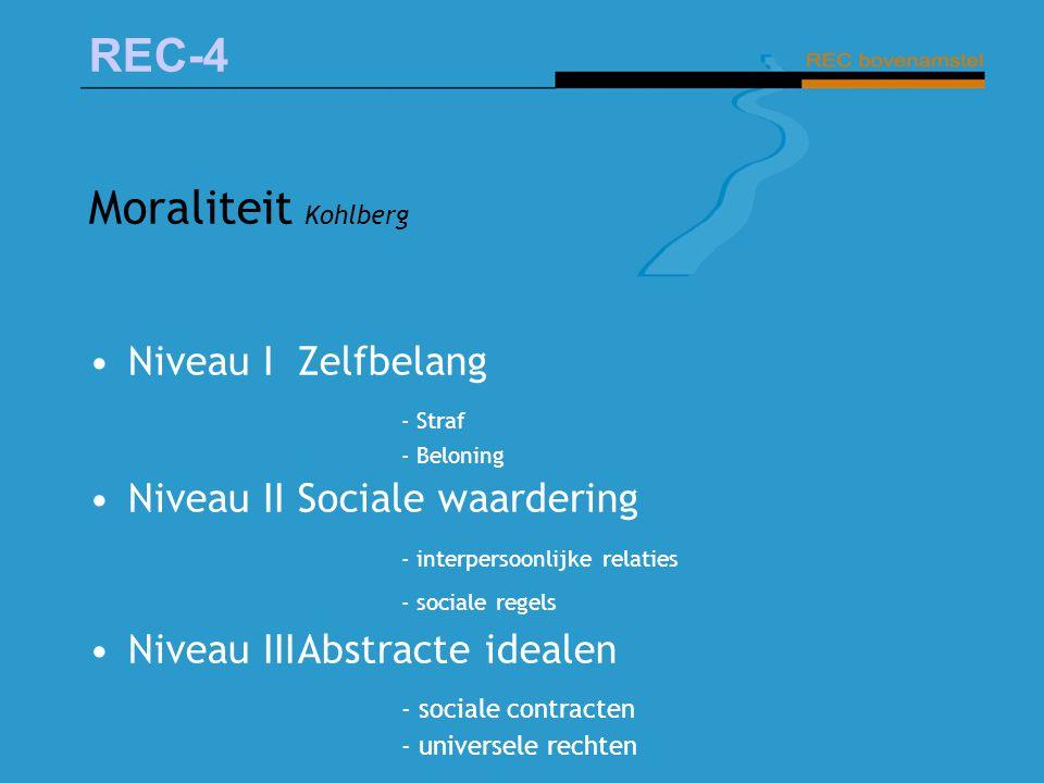 REC-4 Moraliteit Kohlberg Niveau I Zelfbelang - Straf - Beloning Niveau IISociale waardering - interpersoonlijke relaties - sociale regels Niveau IIIA