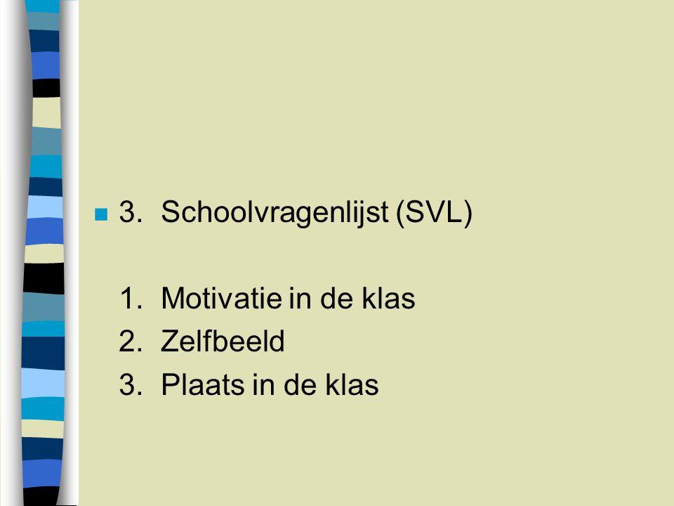 n 3.Schoolvragenlijst (SVL) 1.Motivatie in de klas 2.Zelfbeeld 3.Plaats in de klas