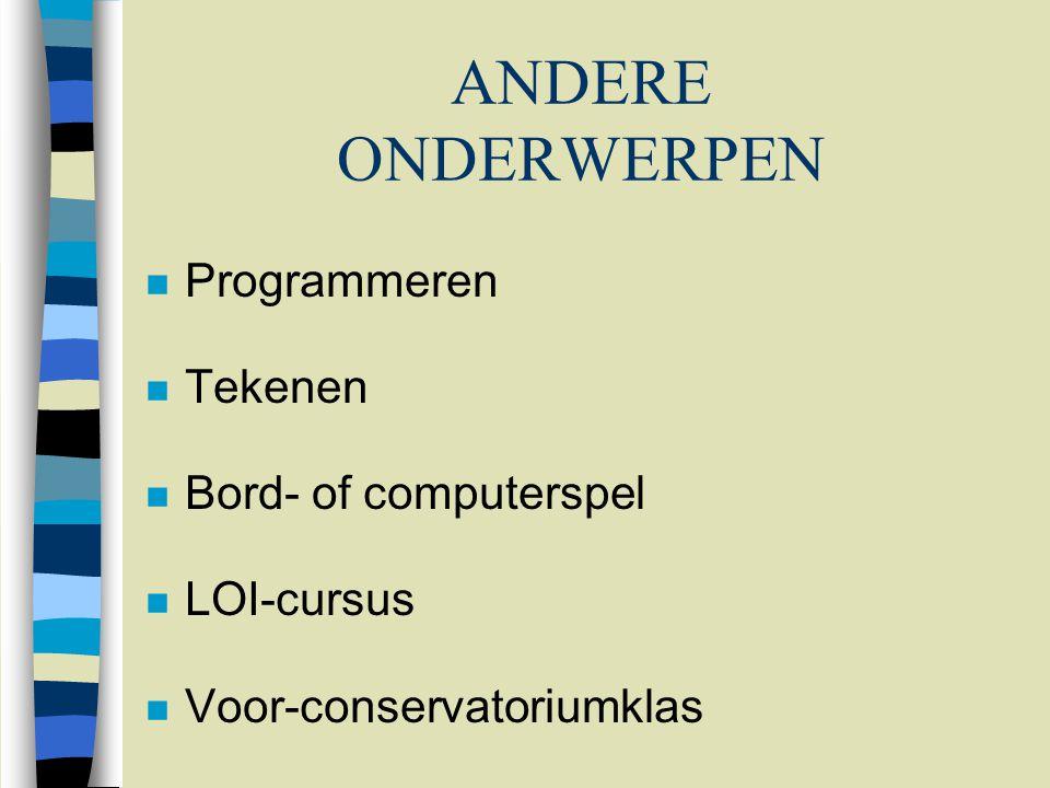 ANDERE ONDERWERPEN n Programmeren n Tekenen n Bord- of computerspel n LOI-cursus n Voor-conservatoriumklas