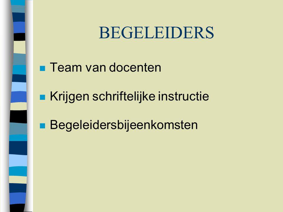 BEGELEIDERS n Team van docenten n Krijgen schriftelijke instructie n Begeleidersbijeenkomsten