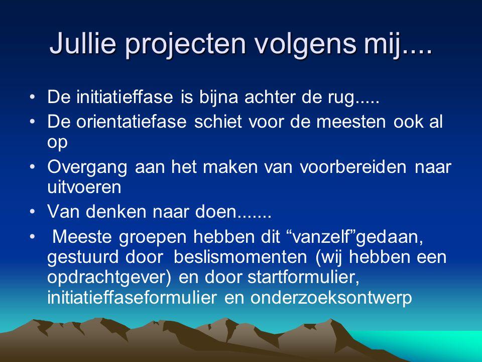 Jullie projecten volgens mij....De initiatieffase is bijna achter de rug.....