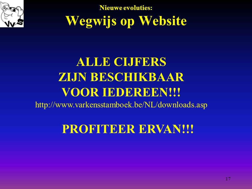 17 Nieuwe evoluties: Wegwijs op Website ALLE CIJFERS ZIJN BESCHIKBAAR VOOR IEDEREEN!!.