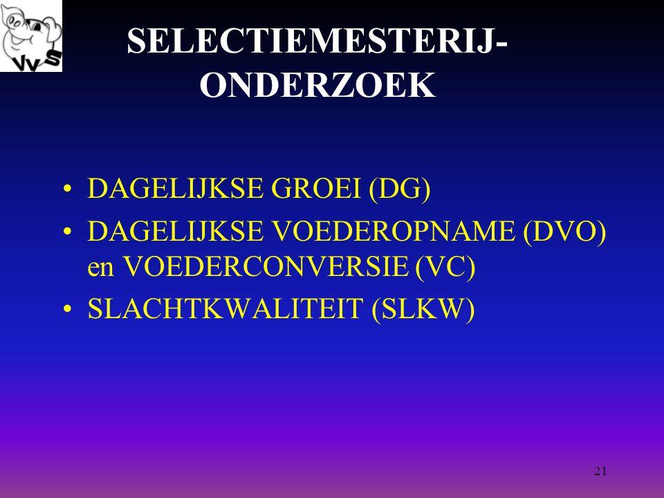 21 SELECTIEMESTERIJ- ONDERZOEK DAGELIJKSE GROEI (DG) DAGELIJKSE VOEDEROPNAME (DVO) en VOEDERCONVERSIE (VC) SLACHTKWALITEIT (SLKW)
