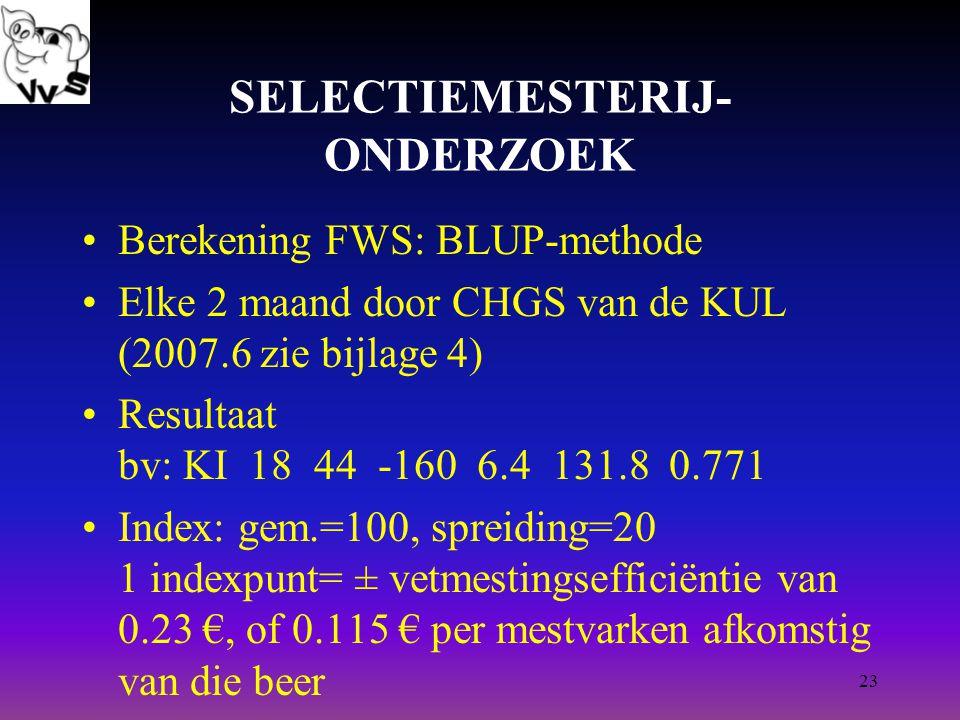23 SELECTIEMESTERIJ- ONDERZOEK Berekening FWS: BLUP-methode Elke 2 maand door CHGS van de KUL (2007.6 zie bijlage 4) Resultaat bv: KI 18 44 -160 6.4 131.8 0.771 Index: gem.=100, spreiding=20 1 indexpunt= ± vetmestingsefficiëntie van 0.23 €, of 0.115 € per mestvarken afkomstig van die beer