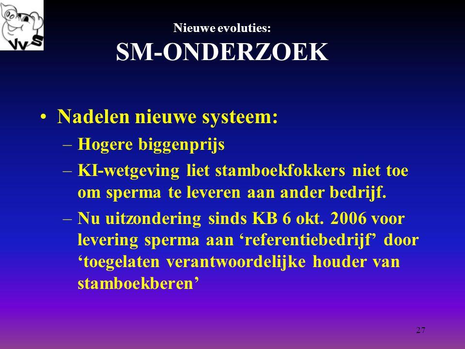 27 Nieuwe evoluties: SM-ONDERZOEK Nadelen nieuwe systeem: –Hogere biggenprijs –KI-wetgeving liet stamboekfokkers niet toe om sperma te leveren aan ander bedrijf.