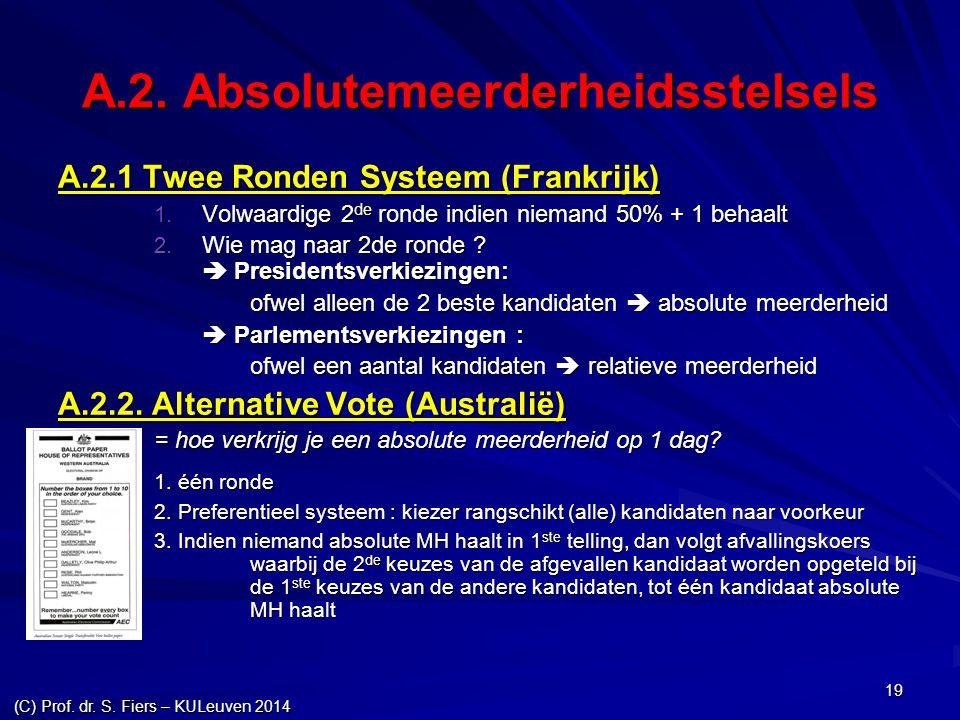 (C) Prof. dr. S. Fiers – KULeuven 2014 19 A.2. Absolutemeerderheidsstelsels A.2.1 Twee Ronden Systeem (Frankrijk)  Volwaardige 2 de ronde indien nie