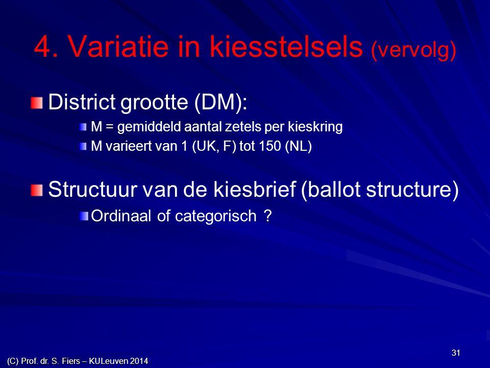 31 4. Variatie in kiesstelsels (vervolg) District grootte (DM): M = gemiddeld aantal zetels per kieskring M varieert van 1 (UK, F) tot 150 (NL) Struct