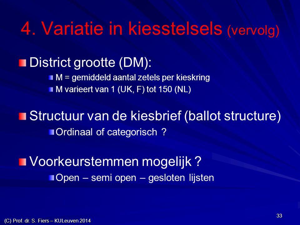 33 4. Variatie in kiesstelsels (vervolg) District grootte (DM): M = gemiddeld aantal zetels per kieskring M varieert van 1 (UK, F) tot 150 (NL) Struct