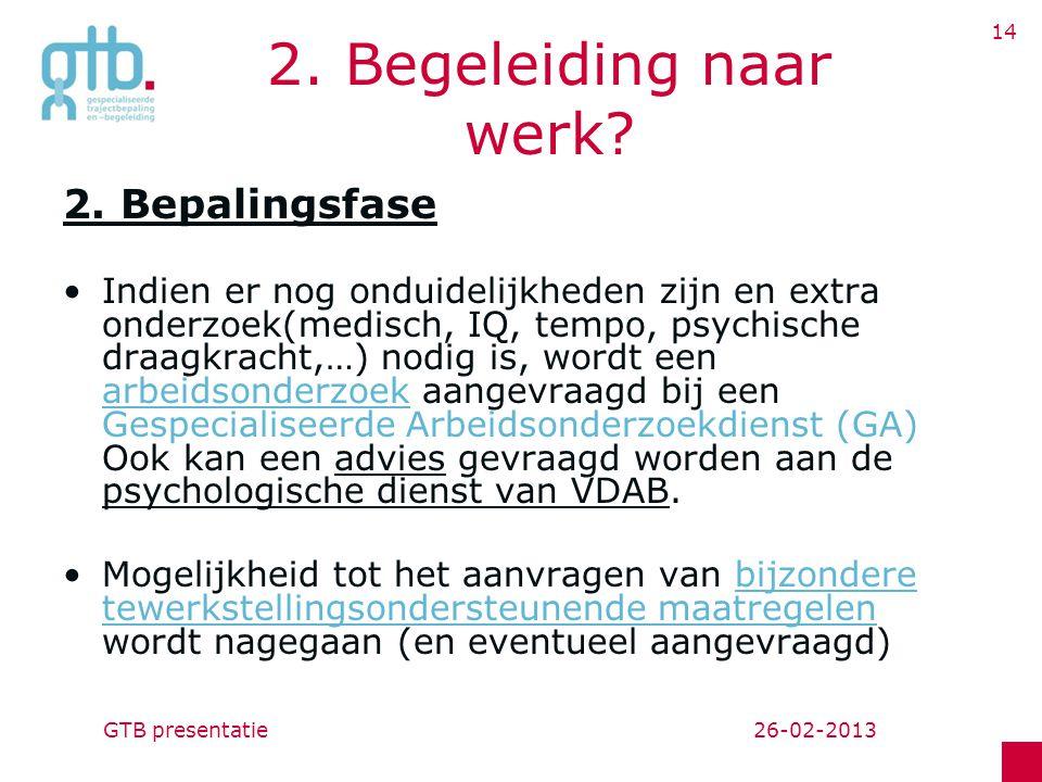 26-02-2013GTB presentatie 14 2.Begeleiding naar werk.