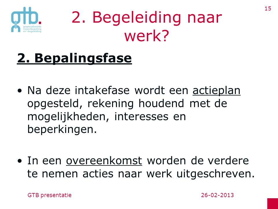 26-02-2013GTB presentatie 15 2.Begeleiding naar werk.