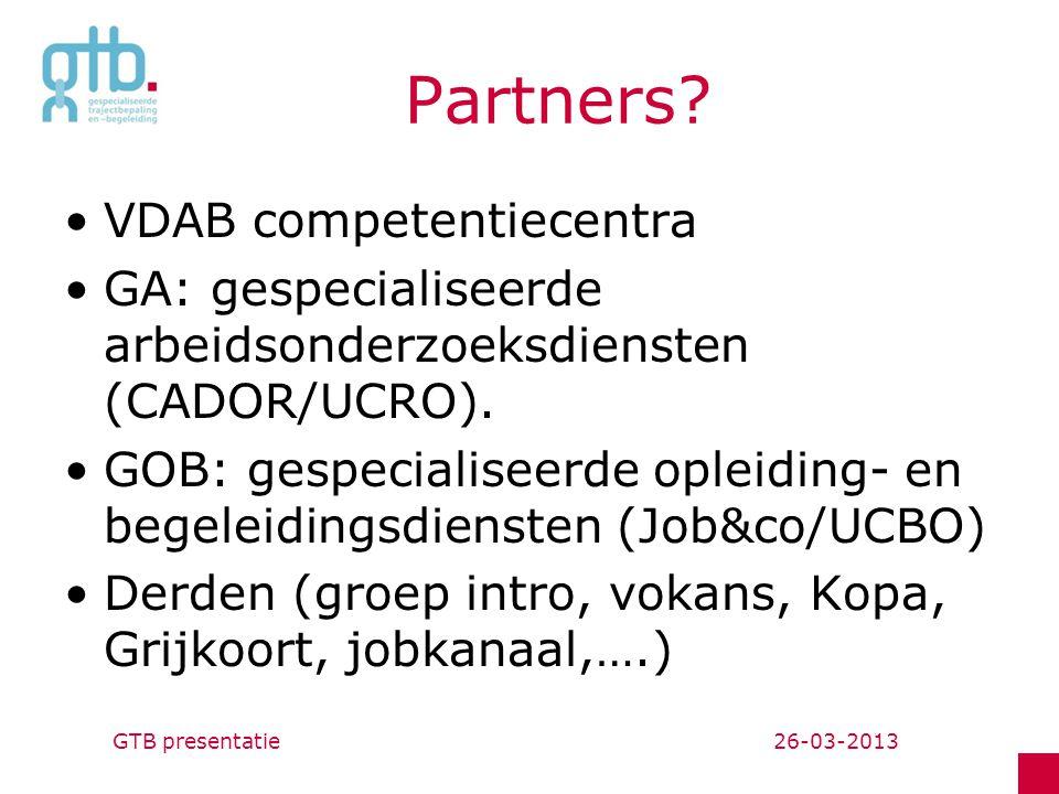 Partners.VDAB competentiecentra GA: gespecialiseerde arbeidsonderzoeksdiensten (CADOR/UCRO).
