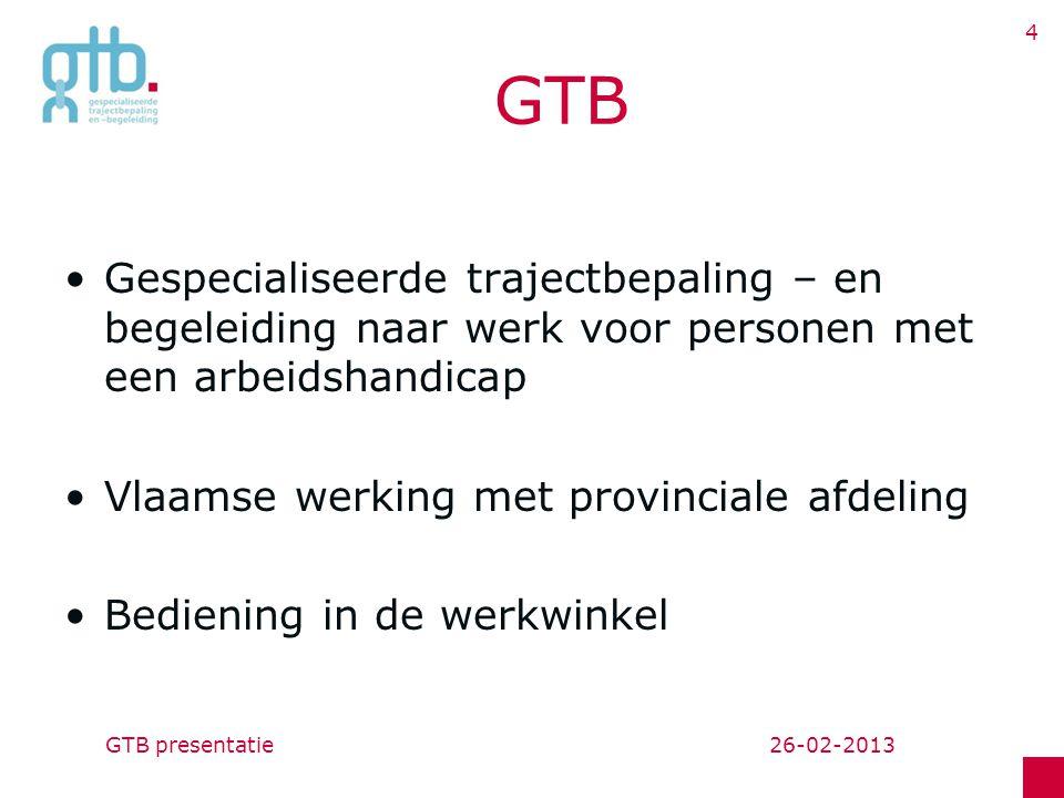 26-02-2013GTB presentatie 4 GTB Gespecialiseerde trajectbepaling – en begeleiding naar werk voor personen met een arbeidshandicap Vlaamse werking met provinciale afdeling Bediening in de werkwinkel