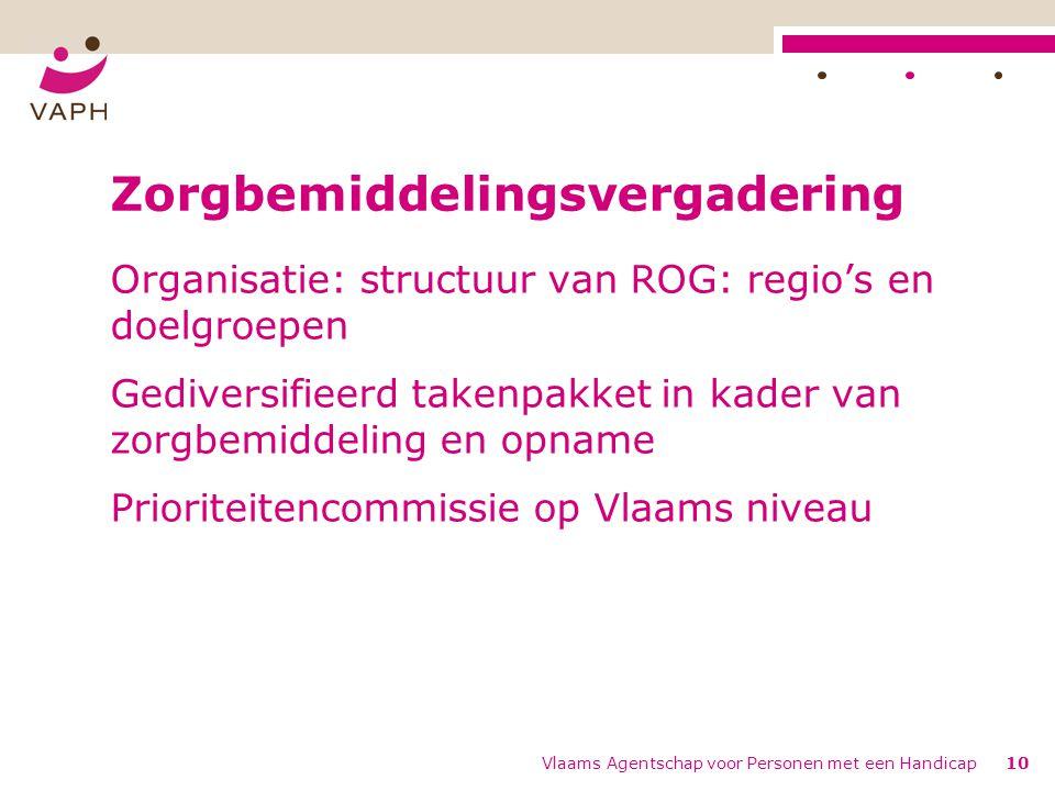 Vlaams Agentschap voor Personen met een Handicap10 Zorgbemiddelingsvergadering Organisatie: structuur van ROG: regio's en doelgroepen Gediversifieerd takenpakket in kader van zorgbemiddeling en opname Prioriteitencommissie op Vlaams niveau