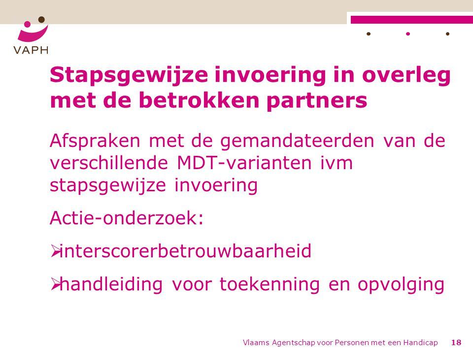 Vlaams Agentschap voor Personen met een Handicap18 Stapsgewijze invoering in overleg met de betrokken partners Afspraken met de gemandateerden van de verschillende MDT-varianten ivm stapsgewijze invoering Actie-onderzoek:  interscorerbetrouwbaarheid  handleiding voor toekenning en opvolging
