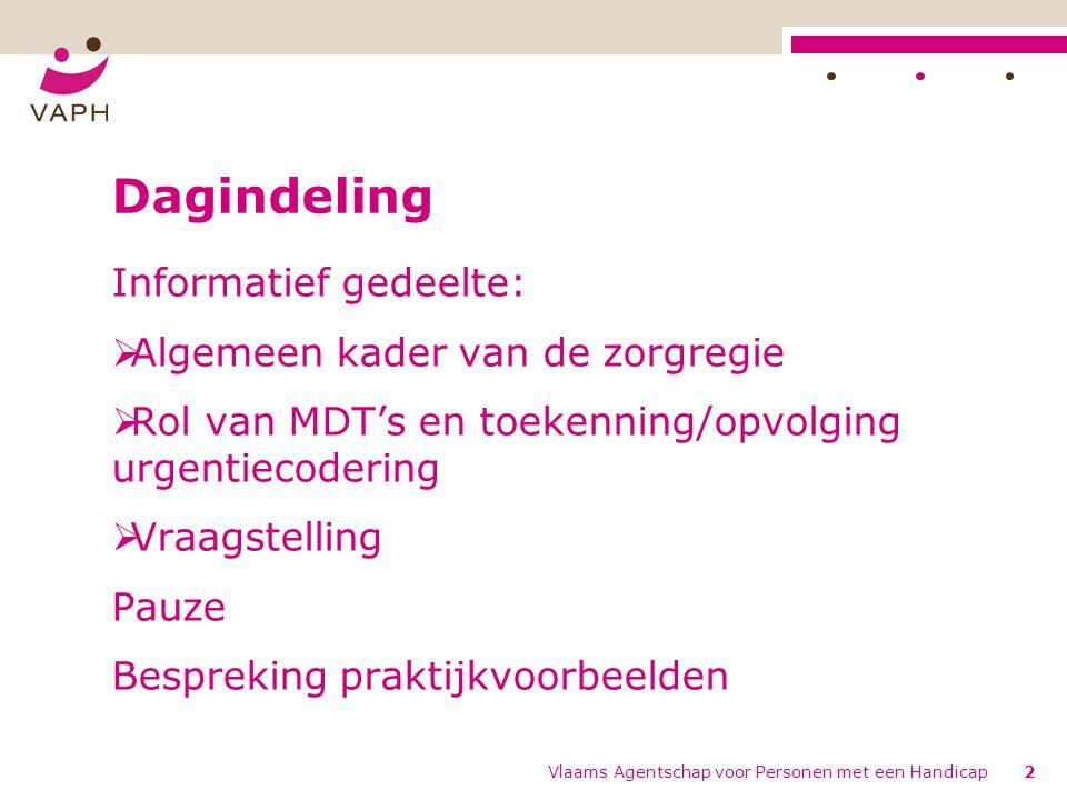 Vlaams Agentschap voor Personen met een Handicap2 Dagindeling Informatief gedeelte:  Algemeen kader van de zorgregie  Rol van MDT's en toekenning/opvolging urgentiecodering  Vraagstelling Pauze Bespreking praktijkvoorbeelden