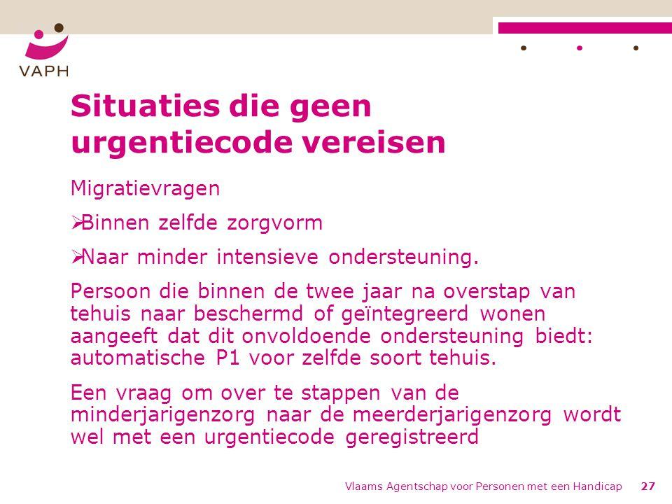 Vlaams Agentschap voor Personen met een Handicap27 Situaties die geen urgentiecode vereisen Migratievragen  Binnen zelfde zorgvorm  Naar minder intensieve ondersteuning.