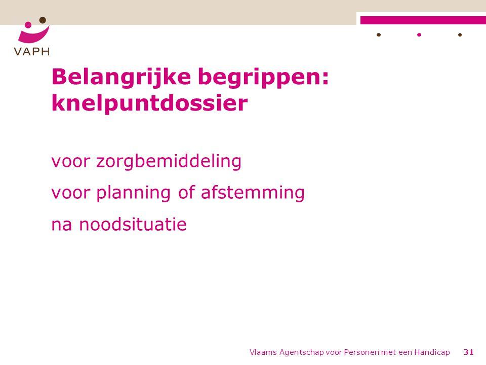 Vlaams Agentschap voor Personen met een Handicap31 Belangrijke begrippen: knelpuntdossier voor zorgbemiddeling voor planning of afstemming na noodsituatie