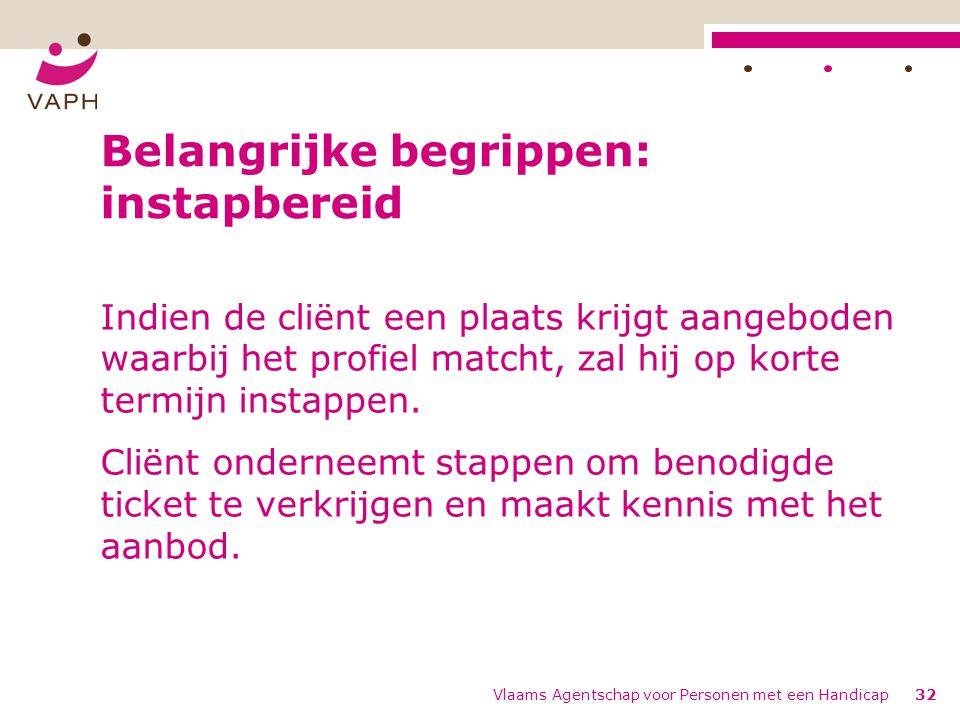 Vlaams Agentschap voor Personen met een Handicap32 Belangrijke begrippen: instapbereid Indien de cliënt een plaats krijgt aangeboden waarbij het profiel matcht, zal hij op korte termijn instappen.