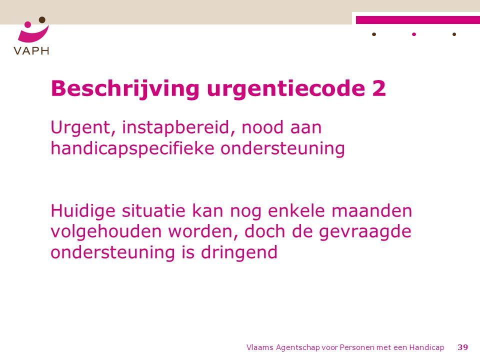 Vlaams Agentschap voor Personen met een Handicap39 Beschrijving urgentiecode 2 Urgent, instapbereid, nood aan handicapspecifieke ondersteuning Huidige situatie kan nog enkele maanden volgehouden worden, doch de gevraagde ondersteuning is dringend