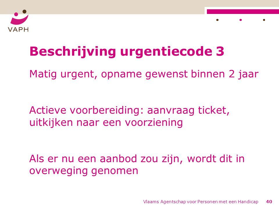 Vlaams Agentschap voor Personen met een Handicap40 Beschrijving urgentiecode 3 Matig urgent, opname gewenst binnen 2 jaar Actieve voorbereiding: aanvraag ticket, uitkijken naar een voorziening Als er nu een aanbod zou zijn, wordt dit in overweging genomen