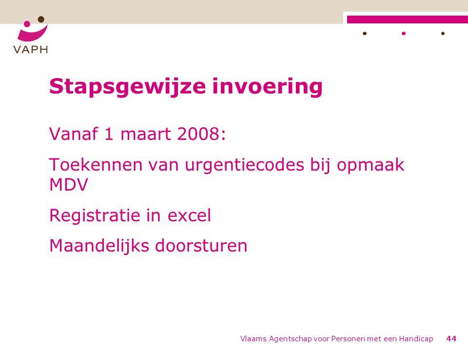 Vlaams Agentschap voor Personen met een Handicap44 Stapsgewijze invoering Vanaf 1 maart 2008: Toekennen van urgentiecodes bij opmaak MDV Registratie in excel Maandelijks doorsturen