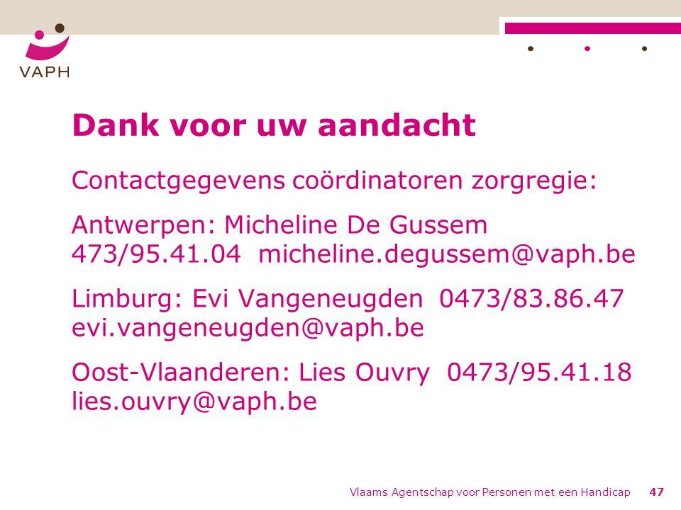 Vlaams Agentschap voor Personen met een Handicap47 Dank voor uw aandacht Contactgegevens coördinatoren zorgregie: Antwerpen: Micheline De Gussem 473/95.41.04 micheline.degussem@vaph.be Limburg: Evi Vangeneugden 0473/83.86.47 evi.vangeneugden@vaph.be Oost-Vlaanderen: Lies Ouvry 0473/95.41.18 lies.ouvry@vaph.be
