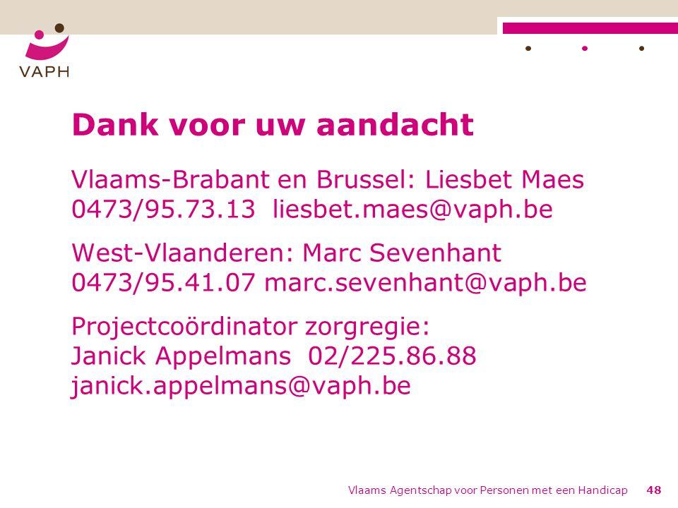 Vlaams Agentschap voor Personen met een Handicap48 Dank voor uw aandacht Vlaams-Brabant en Brussel: Liesbet Maes 0473/95.73.13 liesbet.maes@vaph.be West-Vlaanderen: Marc Sevenhant 0473/95.41.07 marc.sevenhant@vaph.be Projectcoördinator zorgregie: Janick Appelmans 02/225.86.88 janick.appelmans@vaph.be
