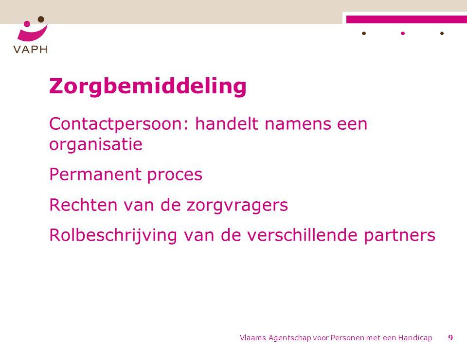 Vlaams Agentschap voor Personen met een Handicap9 Zorgbemiddeling Contactpersoon: handelt namens een organisatie Permanent proces Rechten van de zorgvragers Rolbeschrijving van de verschillende partners