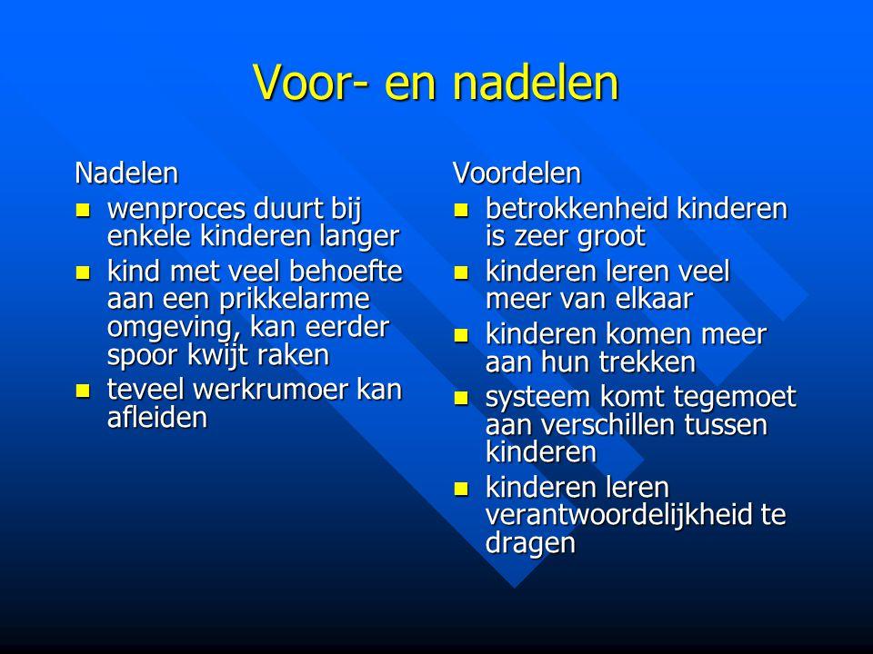 Voor- en nadelen Nadelen wenproces duurt bij enkele kinderen langer wenproces duurt bij enkele kinderen langer kind met veel behoefte aan een prikkela