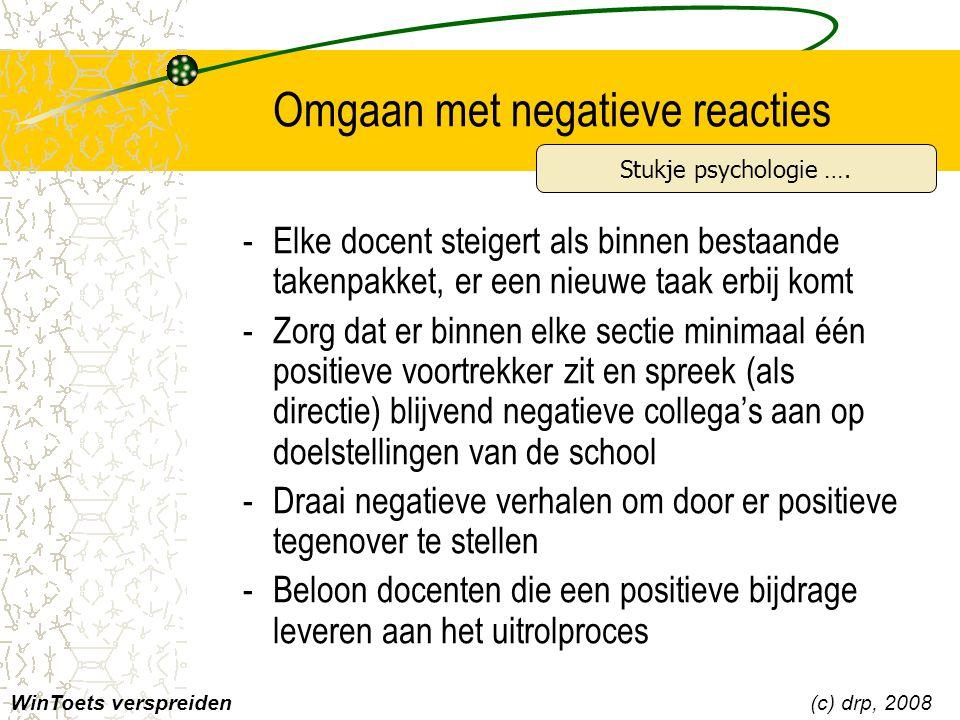 Omgaan met negatieve reacties WinToets verspreiden(c) drp, 2008 -Elke docent steigert als binnen bestaande takenpakket, er een nieuwe taak erbij komt