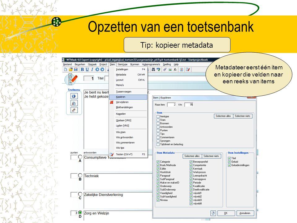 Opzetten van een toetsenbank Metadateer eerst één item en kopieer die velden naar een reeks van items Tip: kopieer metadata